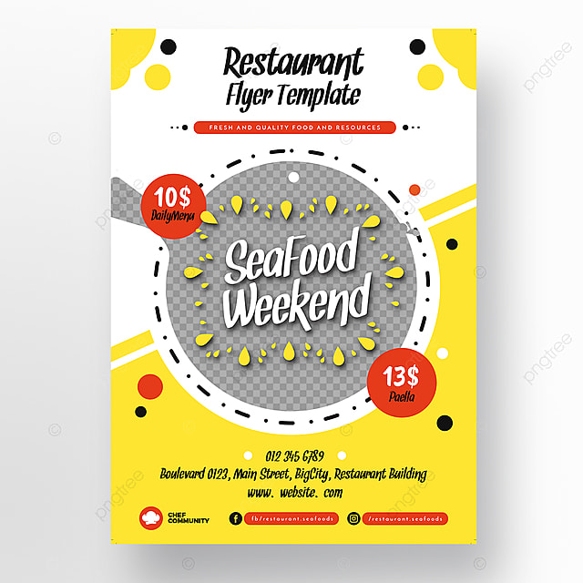 seafood restaurant flyer template template for free