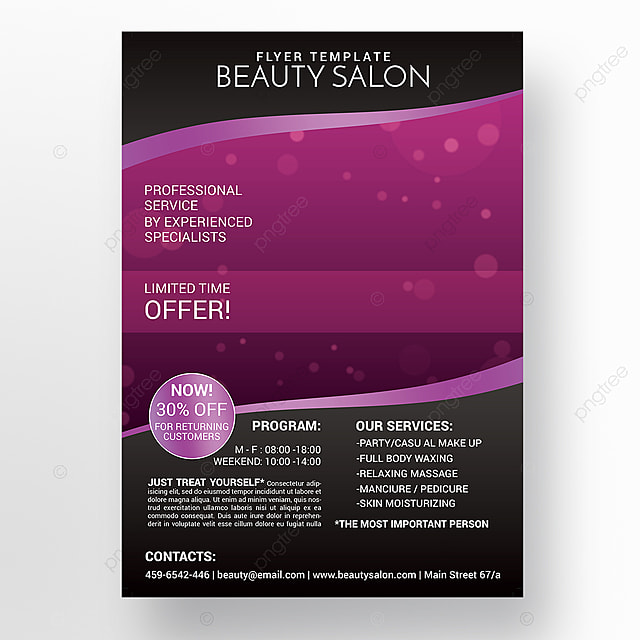 beauty salon flyer template template for free download on