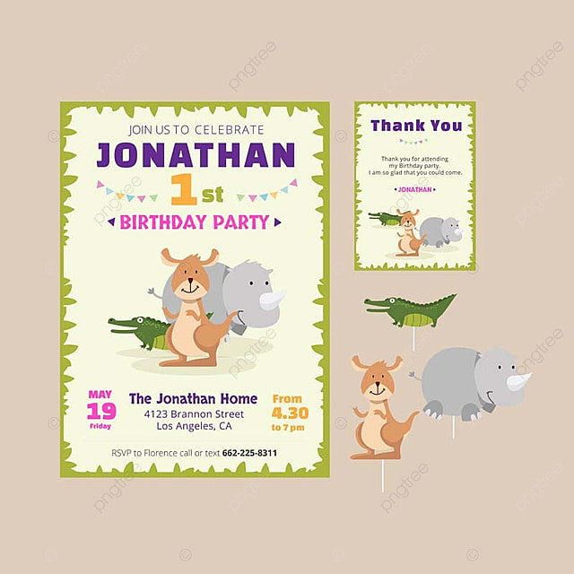 cute animal theme birthday party invitation and thank you card