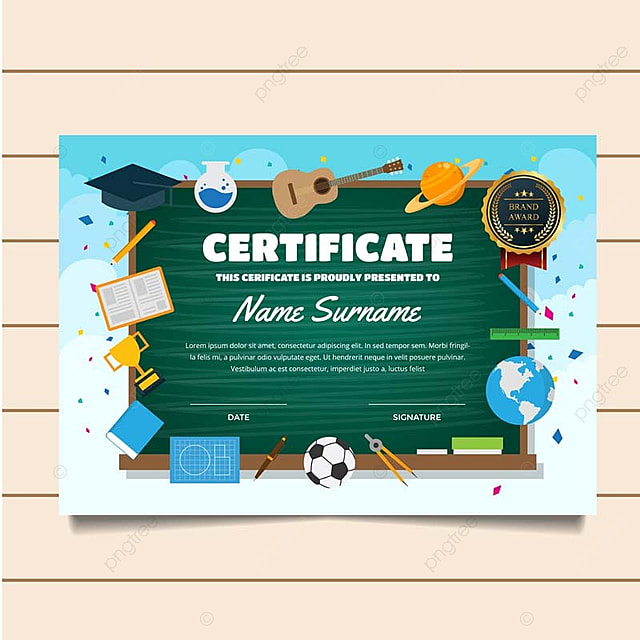 Cute Education Classroom Theme Children Certificate Of Achievement