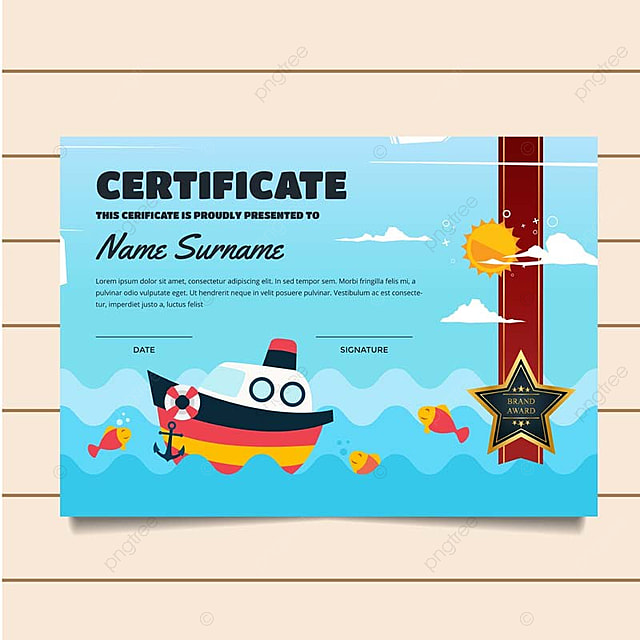 Cute Fishing Theme Children Certificate Of Achievement And ...