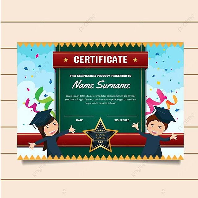 Cute Graduation Theme Children Certificate Of Achievement ...