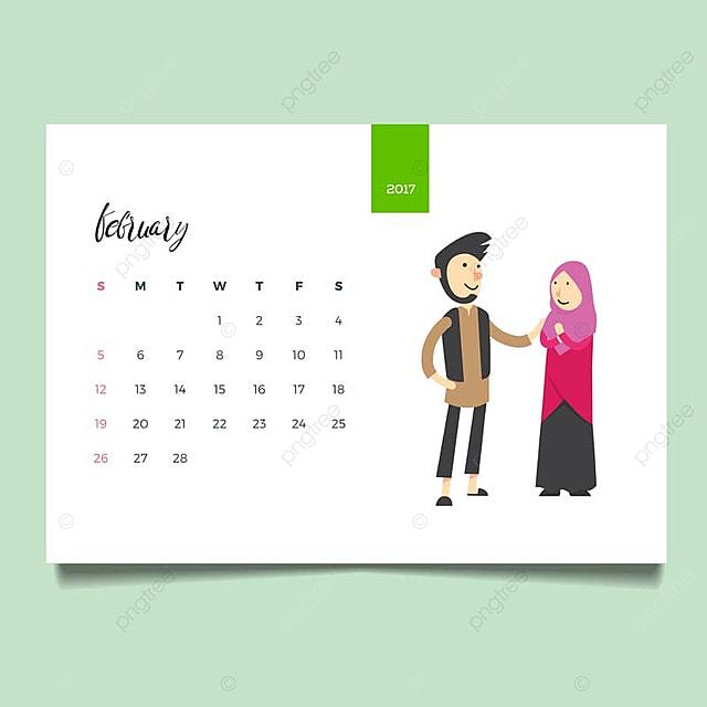 romantic muslim young family couple desk february calendar