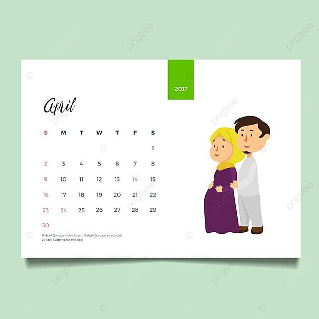 romantic muslim young family couple desk april calendar illustration