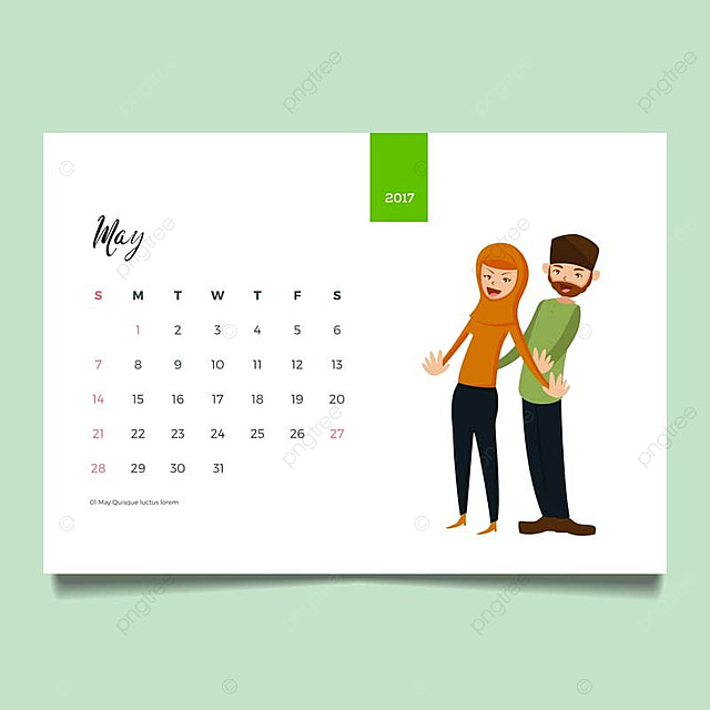 romantic muslim young family couple desk may calendar illustration