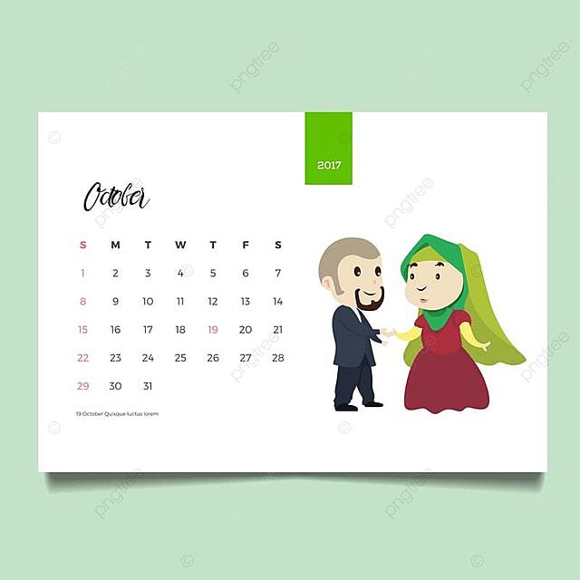 romantic muslim young family couple desk october calendar