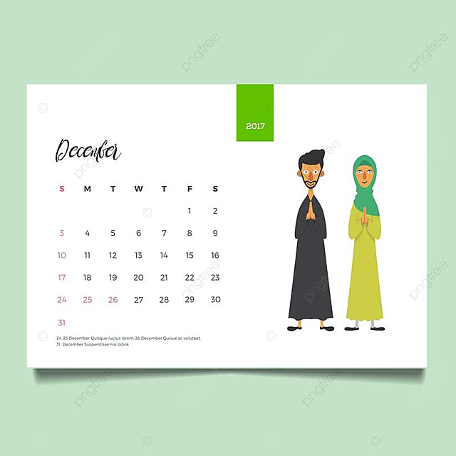 romantic muslim young family couple desk december calendar illustration stationery template