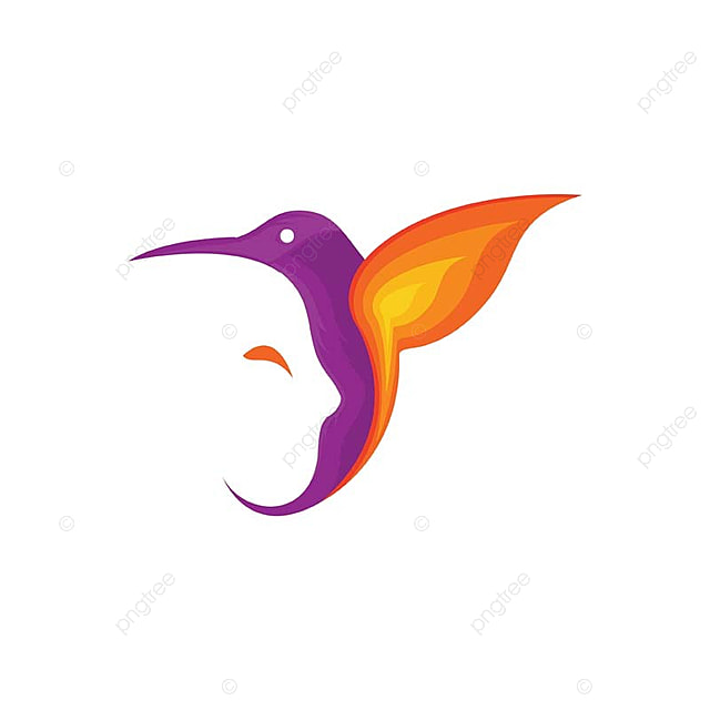 hummingbird with human face silhouette logo template for free