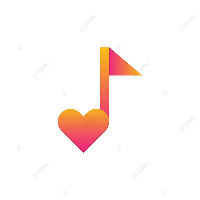 Musical Quaver Note And Love Symbol Template For Free Download On