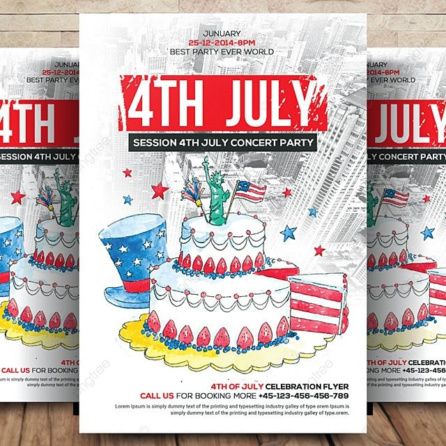 4th of july flyer template template for free download on pngtree