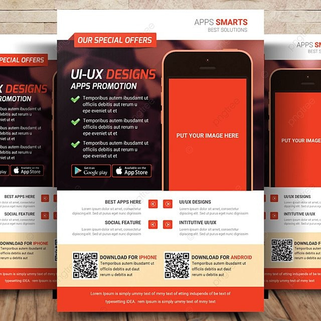 mobile apps flyer template template for free download on pngtree