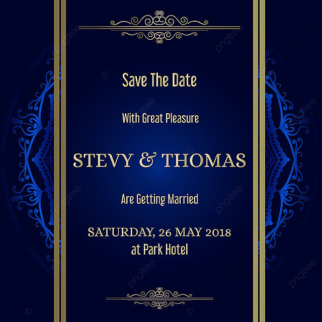 Blue Invitation Card With Mandala Background Template For Free