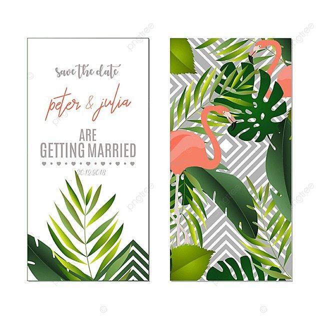 Convite De Casamento Cartão Estilo Tropical Modelo Para Download