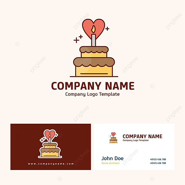Company Name Design With Cake Logo And Typography Template For Free