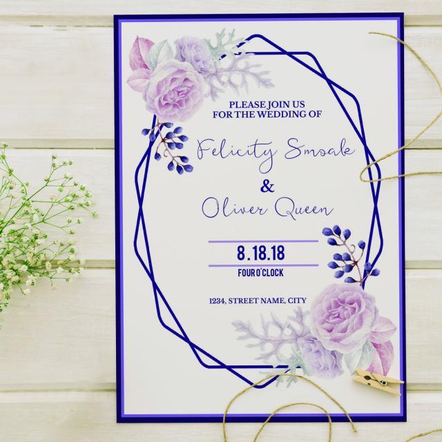 purple wedding invitation template