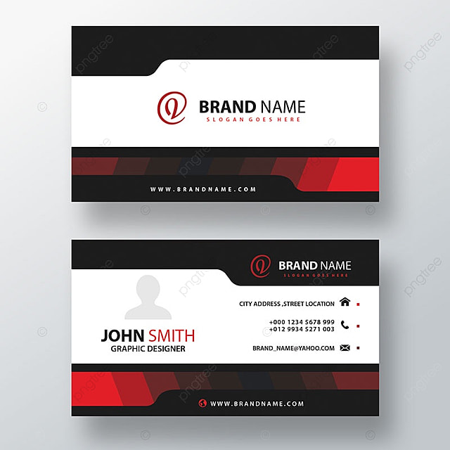 Black And White Business Card With Red Details Template For Free