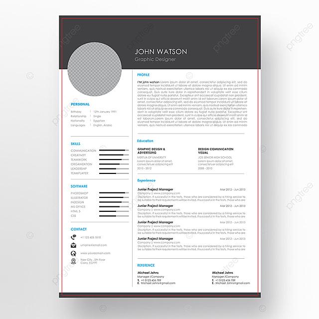 Gambar Templat Resume Cv Minimalis Vektor Dengan Reka Bentuk