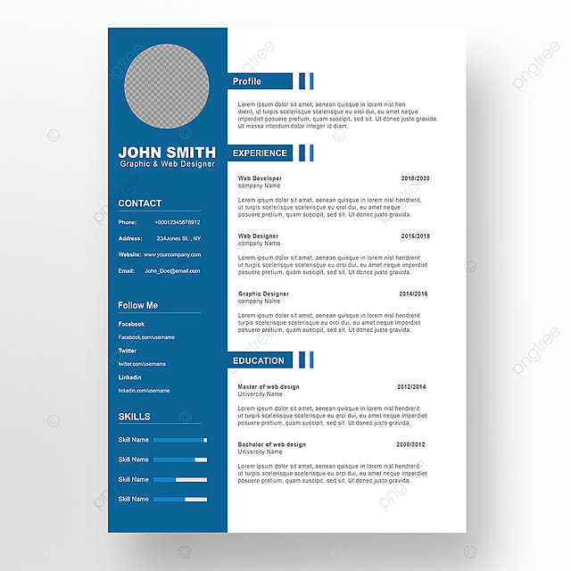 curriculum vitae modelo psd 5 modelo para download gratuito no pngtree