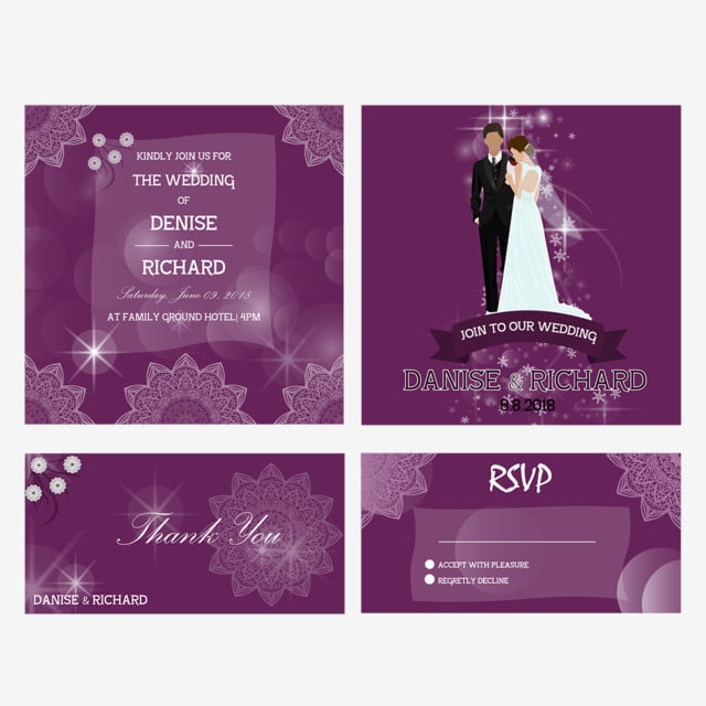 purple wedding invitation template for free download on pngtree