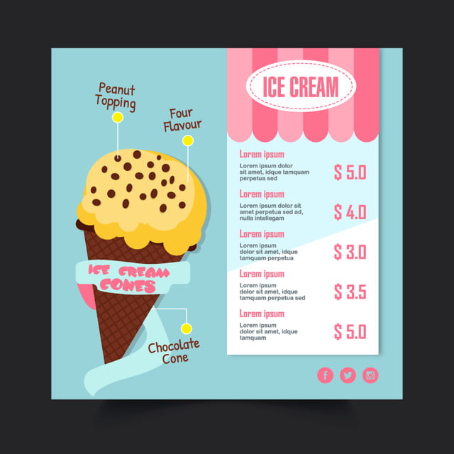 ice cream menu template template for free download on pngtree