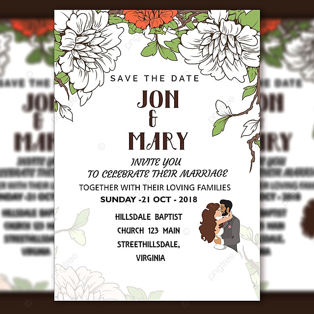 Wedding Invitation Vector Handmade Flower With Bride And Groom