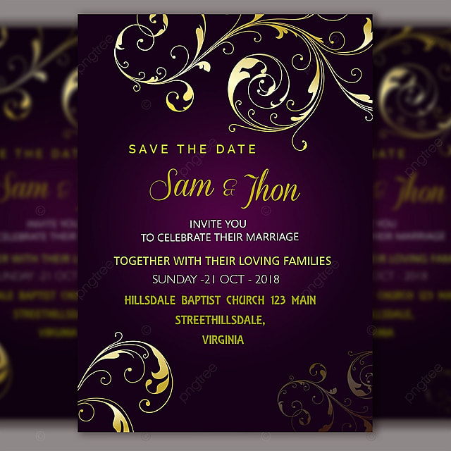 royal wedding invitation template vector with gold frame template