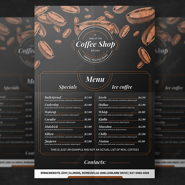 coffee menu flyer template template for free download on pngtree