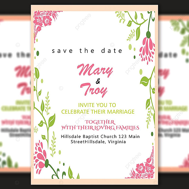 vector flower wedding invitation card template with amazing floral