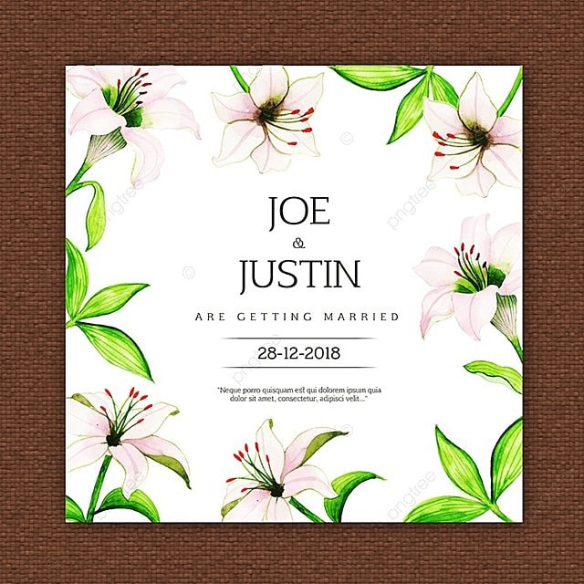Beautiful Watercolor Floral Wedding Invitation Card Szablon