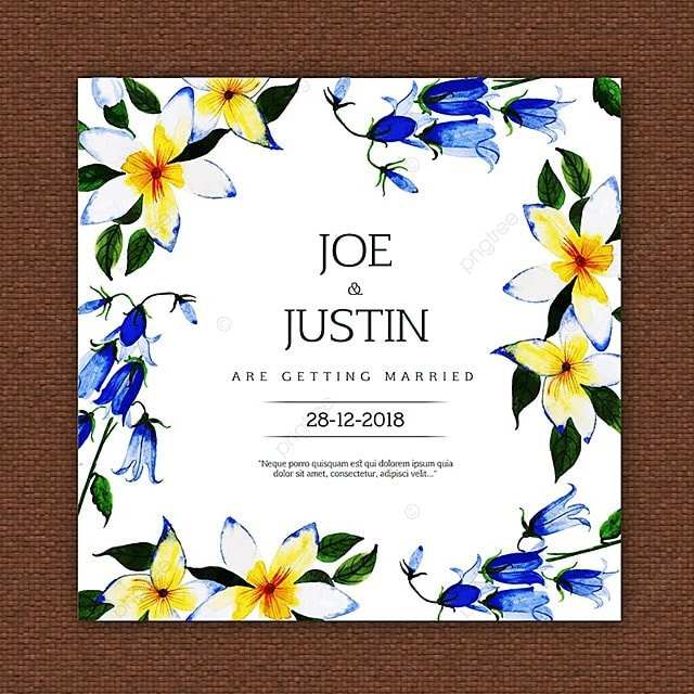 Beautiful Watercolor Floral Wedding Invitation Card Template For