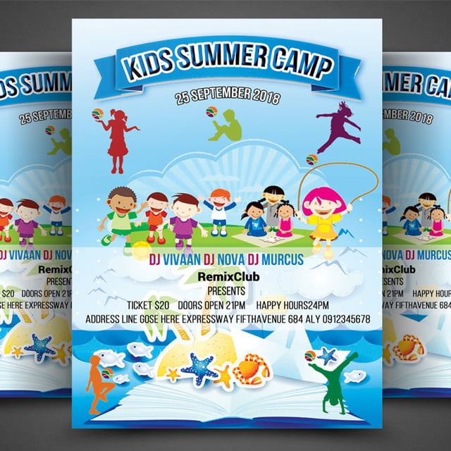 Kids Summer Camp Flyer Template For Free Download On Pngtree