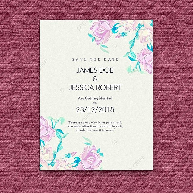 Watercolor Floral Vintage Wedding Invitation Template For Free