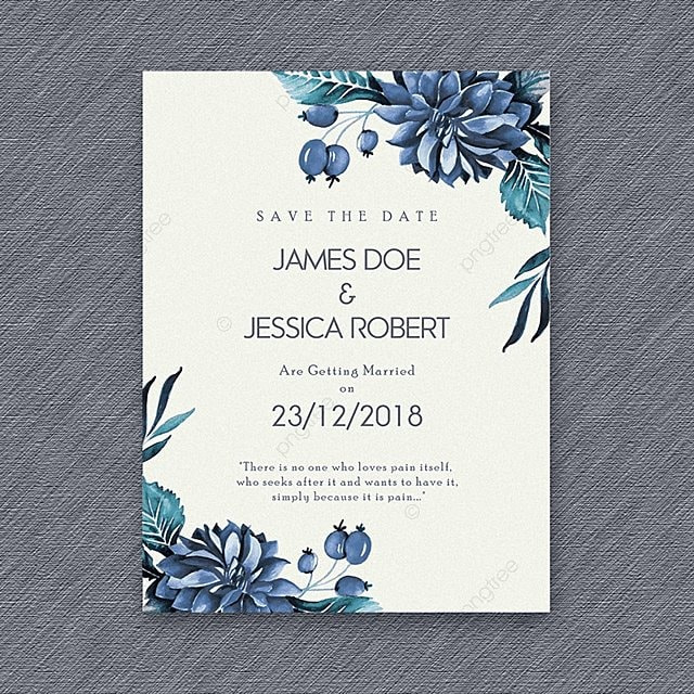watercolor floral vintage wedding invitation template for