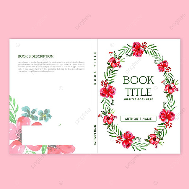 book cover design with watercolor floral and leaves stationery
