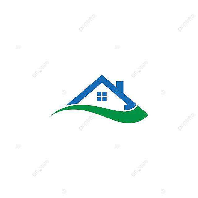 illustration de la maison et swoosh logo abstrait design