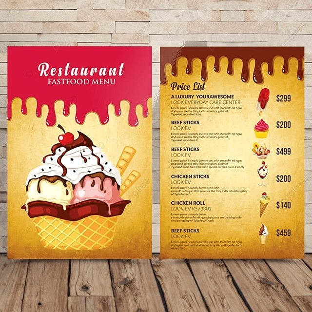 restaurant ice cream menu template for free download on pngtree