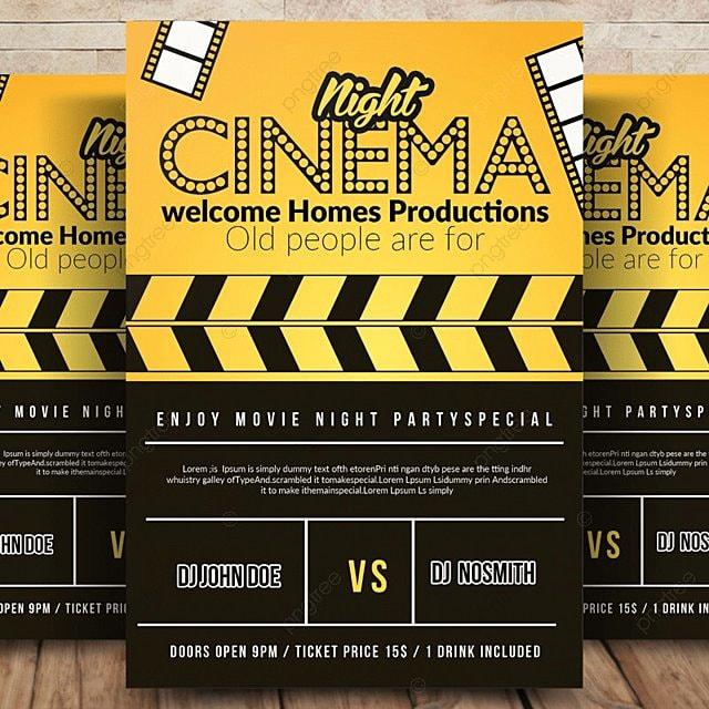 movie night cinema flyer template for free download on pngtree