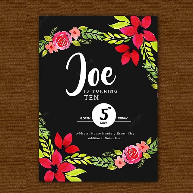 Watercolor Floral Birthday Invitation Cards Template For