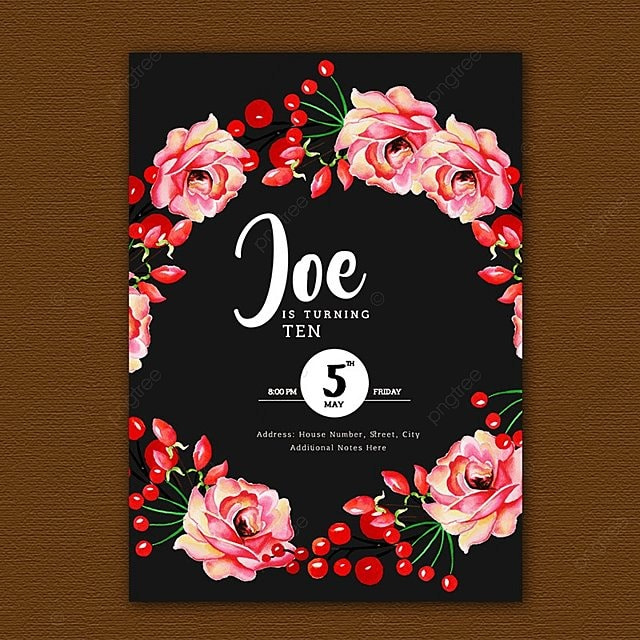 Watercolor Floral Birthday Invitation Template For Free Download On