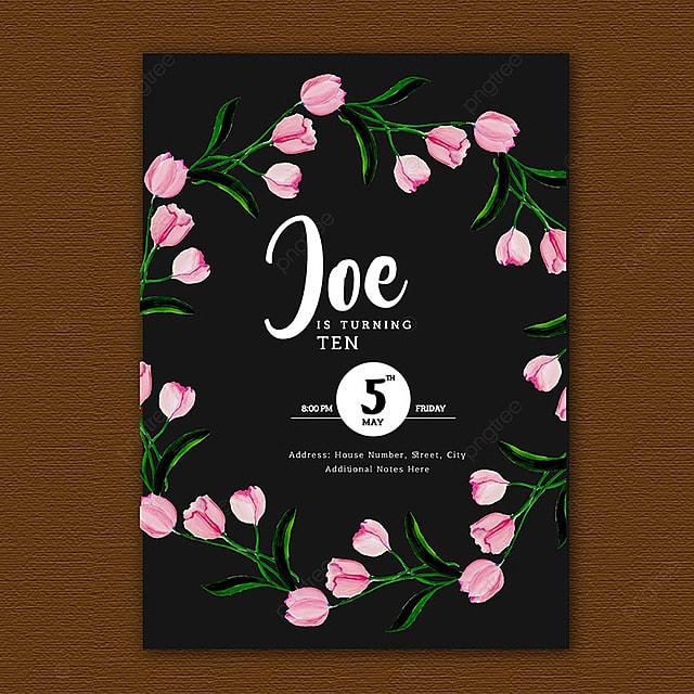 Tarjetas De Invitación De Cumpleaños Acuarela Floral
