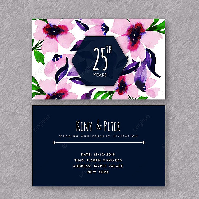 Watercolor Floral Wedding Anniversary Invitation Template For Free