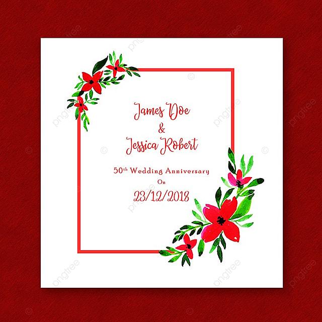 Tarjeta De Invitacion Aniversario Acuarela Floral Frame