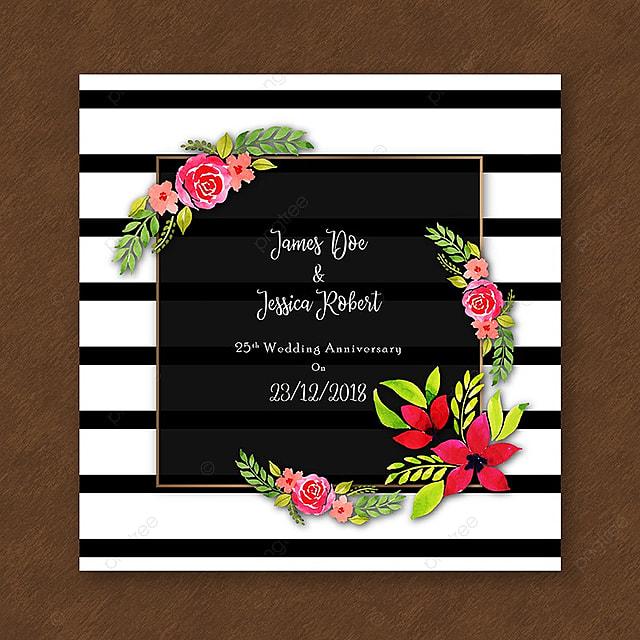 Tarjeta De Invitacion De Aniversario Acuarela Floral Con