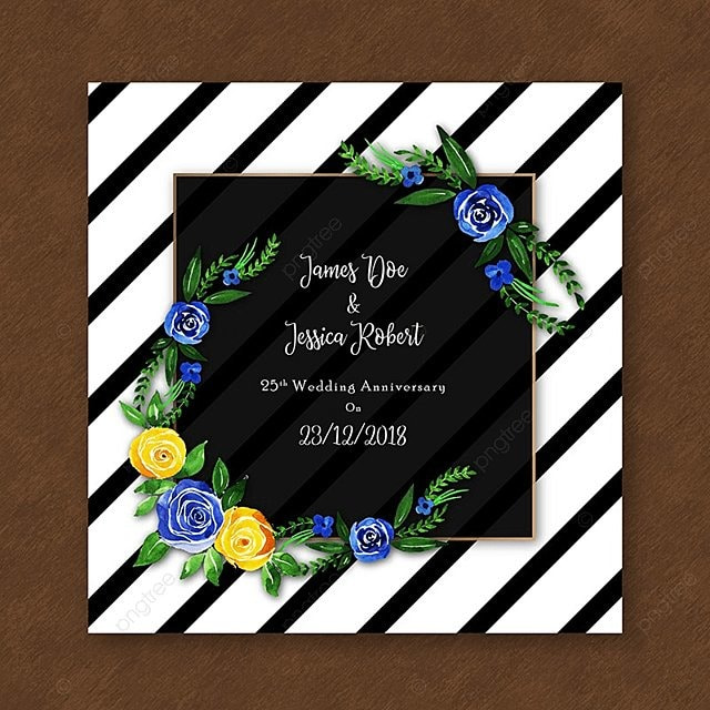 Watercolor Floral Anniversary Invitation With Stripes