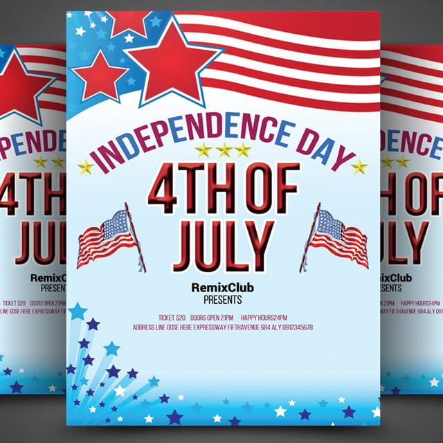 4th of july american flag usa independence day flyer template template