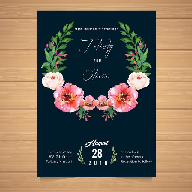 Simple Blue Wedding Invitation Template For Free Download On Pngtree