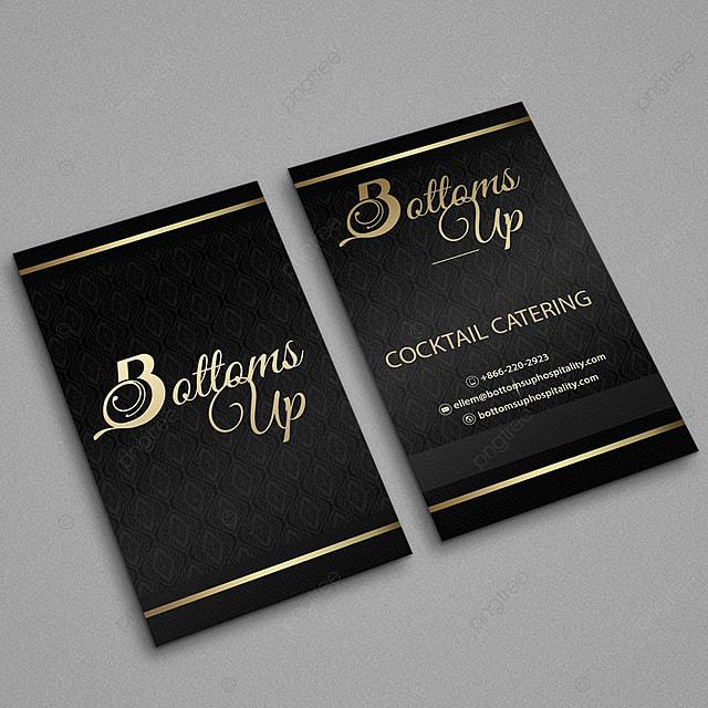Gold Und Schwarz Vertikale Visitenkarten Vorlage Zum