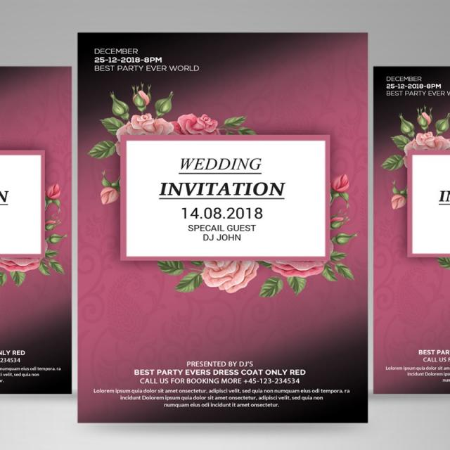 Wedding Invitation Flyer Template For Free Download On Pngtree