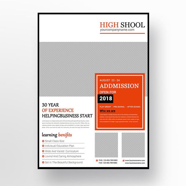 high school admission flyer template for free download on