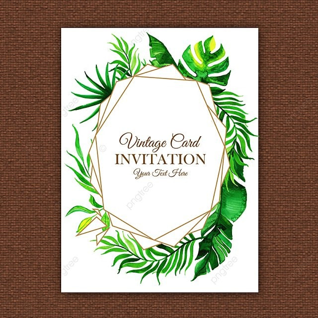 Watercolor Leaves Vintage Invitation Template For Free Download On
